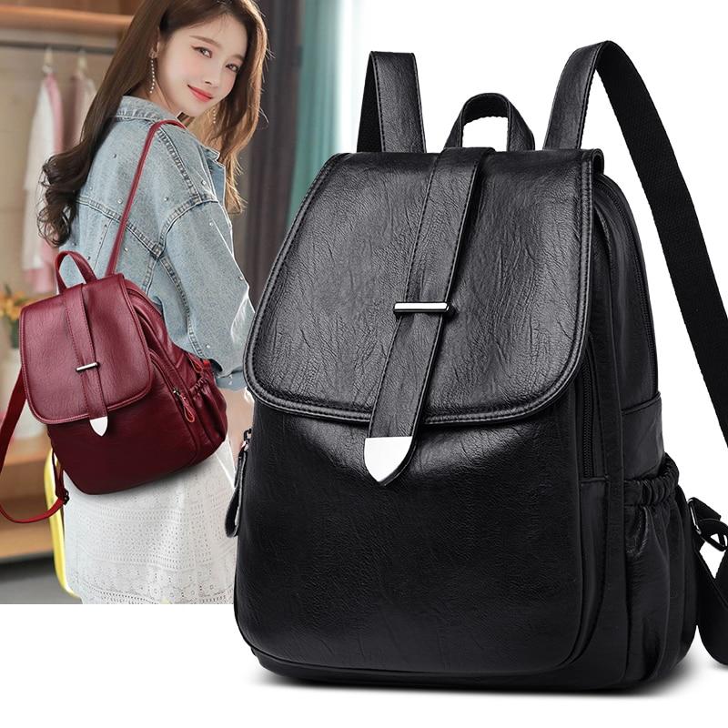 Mochila De Cuero pu para mujer mochila negra para mujer 2019 mochilas de viaje de moda gran capacidad para mujer bolsa de escuela para niña
