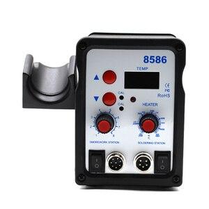 Image 2 - 220 В 580 Вт паяльная станция 8586 2 в 1 SMD наладочная станция воздуходувка горячего воздуха Тепловая пушка + Электрический паяльник