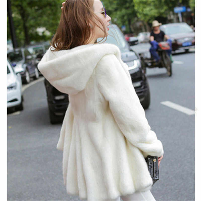 Winter Thick Fur Young Women Medium-long Hooded Water Mink Fur Jacket Plus Size 8XL Ladies Warm Clothes Coats And Outwear G1266