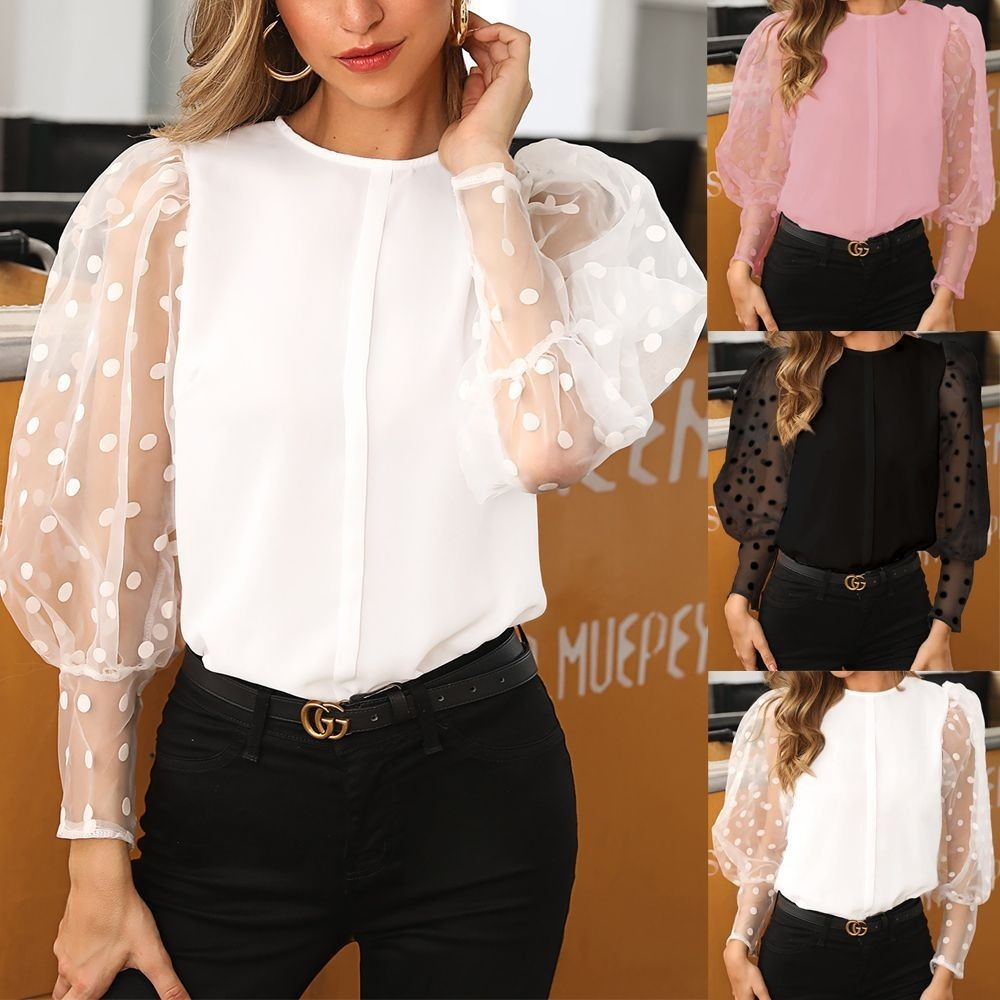 ChiffonTops Lantern Sleeve Shirts Mesh Wave Point Long SleeveBlouse Women Streetwear White Shirts for Fashion Clothing