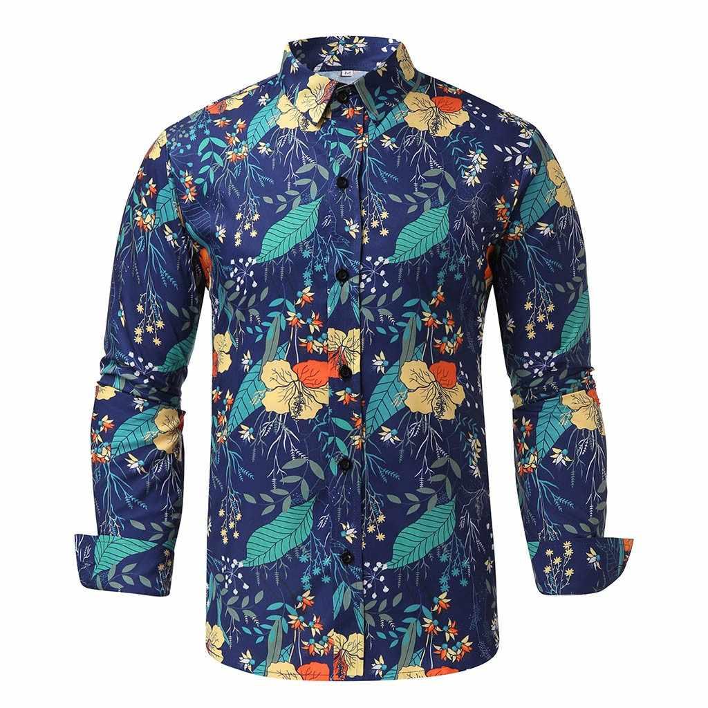 Koszulki hommes koszula męska kwiatowy nadruk skręcić w dół kołnierz w stylu Vintage z długim rękawem Camisa w stylu etnicznym luźne koszule na co dzień mężczyzn
