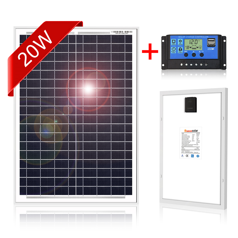 DOKIO Solar Panel 20W + 10A 12V/24V Solar Controller With USB Interface 12V Portable Solar Panel For Mobile Phone image
