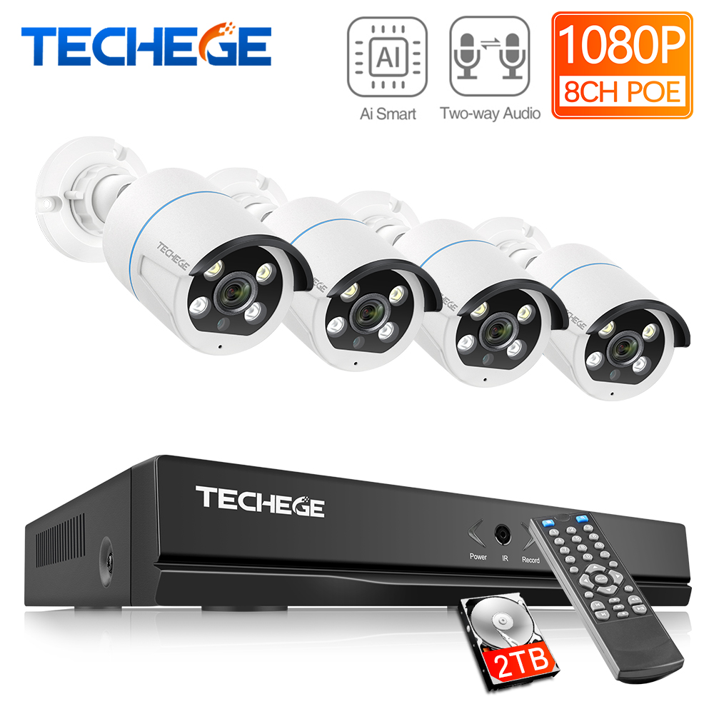 Techege 8CH 1080P POE Cameras System Ai Human Detection Metal Waterproof Outdoor Two-Way Audio Video Camera System APP Remote