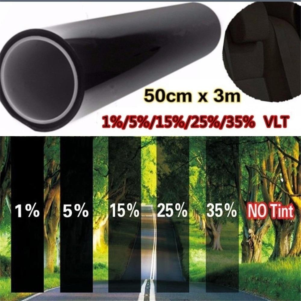 Черная УФ-устойчивая к царапинам пленка VLT для дома автомобиля, окон 50 см х 3 м, Тонировочная пленка, набор для тонировки
