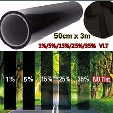 1% 5% 15% vlt preto à prova de uv, resistente a arranhões para casa do carro, windows 50cm x kit de rolo de pintura com filme de 3m