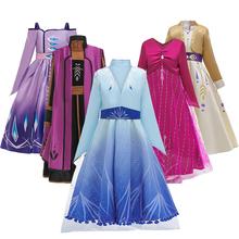 Snow Queen 2 sukienki dla dziewczynek księżniczka sukienka dla dziewczynek kostiumy świąteczne sukienki dla dziewczynek odzież dla dziewczynek tanie tanio CN (pochodzenie) Spodnie Kurtki Suknie Film i TELEWIZJA Dziewczyny Zestawy other COTTON Knee-Length REGULAR Turn-down Collar