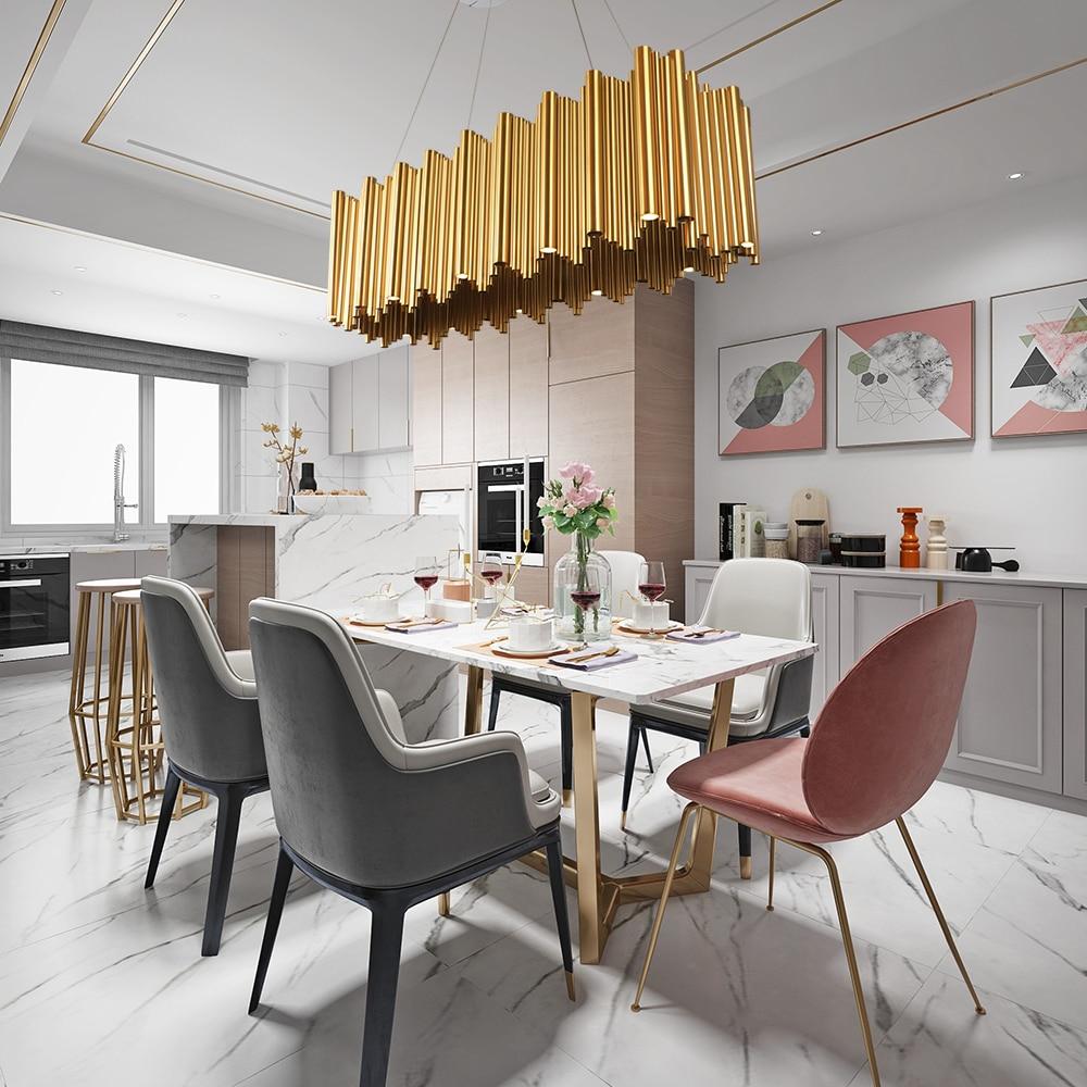 Modern Luxury LED Chandelier Lighting Gold Stainless Steel Lamp Rectangle Dining Room Kitchen Island Hang LED Light Fixtures