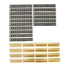 Lot de 16 étiquettes en forme de chiffres dorés avec Base, affichage de prix ajustable