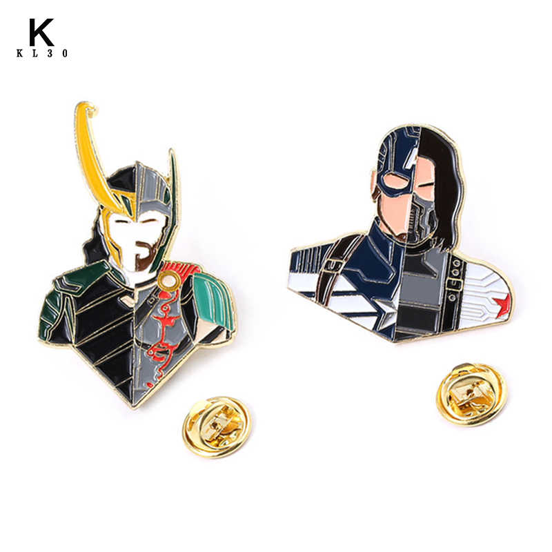 The Avengers Enamel Bros Kerah Pin Superhero Thor Loki Hammer Spiderman Batman Lencana Wanita Pria Lapel Pin Kemeja Denim Hadiah