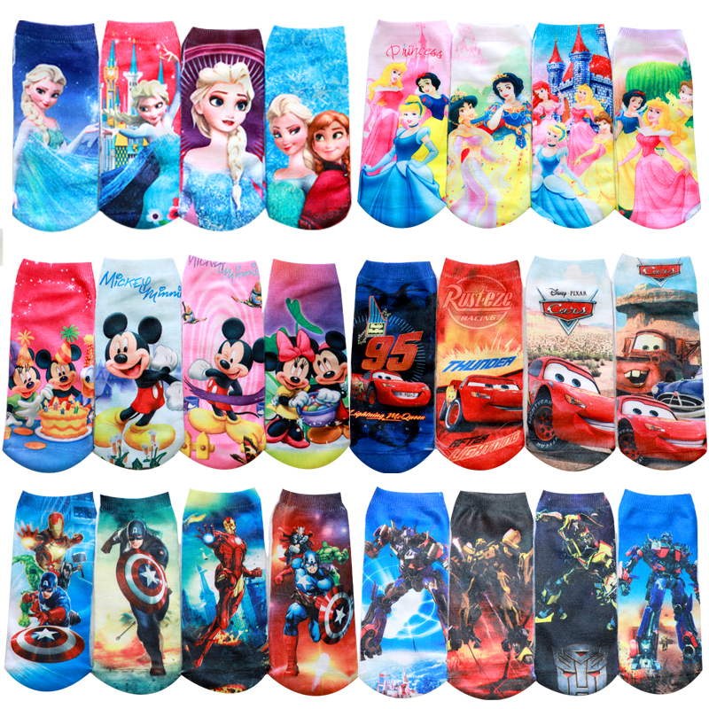 4pair Mickey Anna Elsa Cars 3 Cotton Boys Girls Socks 3D Princess Print Socks Kids Cartoon Children Kids Funny SpiderMan Socks