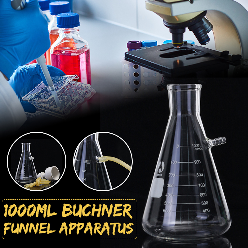 Kicute 1 Set 1000ml Vacuum Suction Filtration Device Buchner Funnel Borosilicate Glass Funnel Flask School Laboratory Supplies