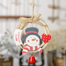 1pc wooden pendant creative Christmas wreath bow wood ring ornaments New Year decoration party supplies