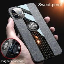 Couro de luxo com suporte ímã anel titular caso para iphone 12 mini 11 pro x xr xs max 7 8 6s plus se 2020 proteção capa