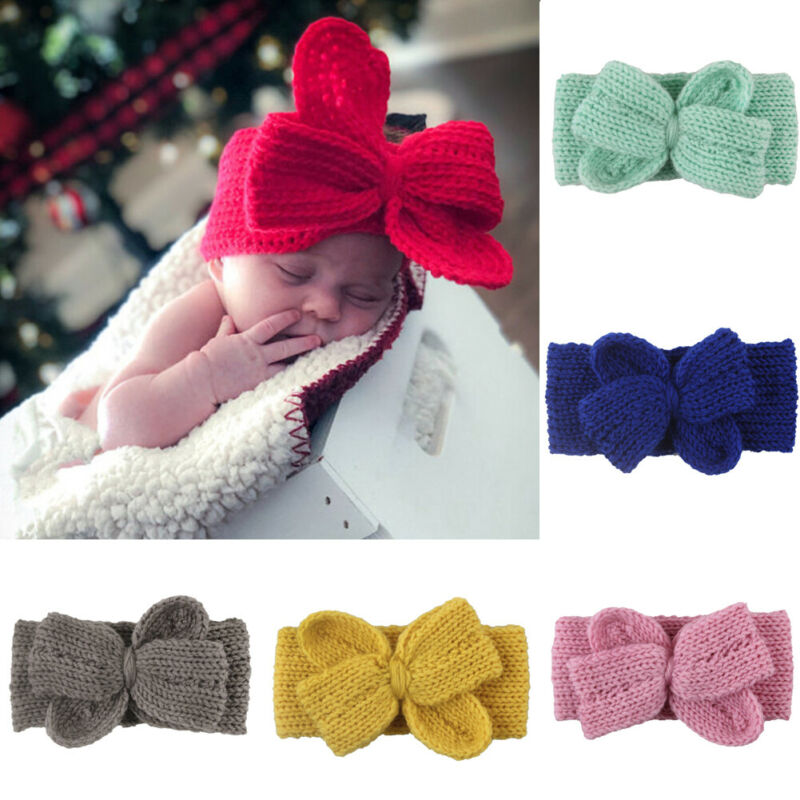 Baby Toddler Girls Headband Crochet Knitted Bow Turban Hair Kids Hair Band Wear