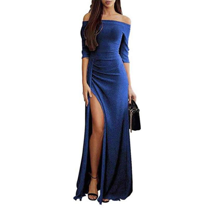 Elsvios Sexy kobiety wysoka szczelina sukienka na imprezę jesień kobiet jedwabiu błyszczące Bodycon sukienka w dużym rozmiarze elegancka Off ramię Glitter długa sukienka 3XL