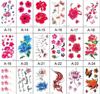 10pcs/lot Flower Bird Decal Fake Women Men DIY Henna Body Art Tattoo Design Butterfly Tree Branch Vivid Temporary Tattoo Sticker image