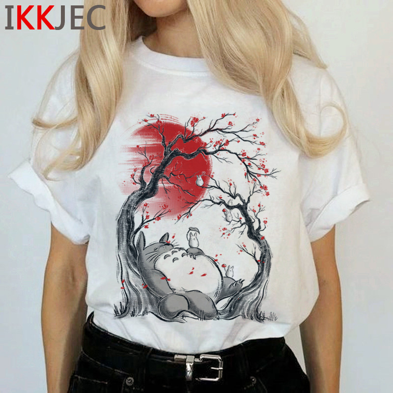 Totoro Harajuku Studio Ghibli T Shirt Women Miyazaki Hayao Ullzang Cute T-shirt Funny Cartoon Tshirt 90s Graphic Top Tees Female 4