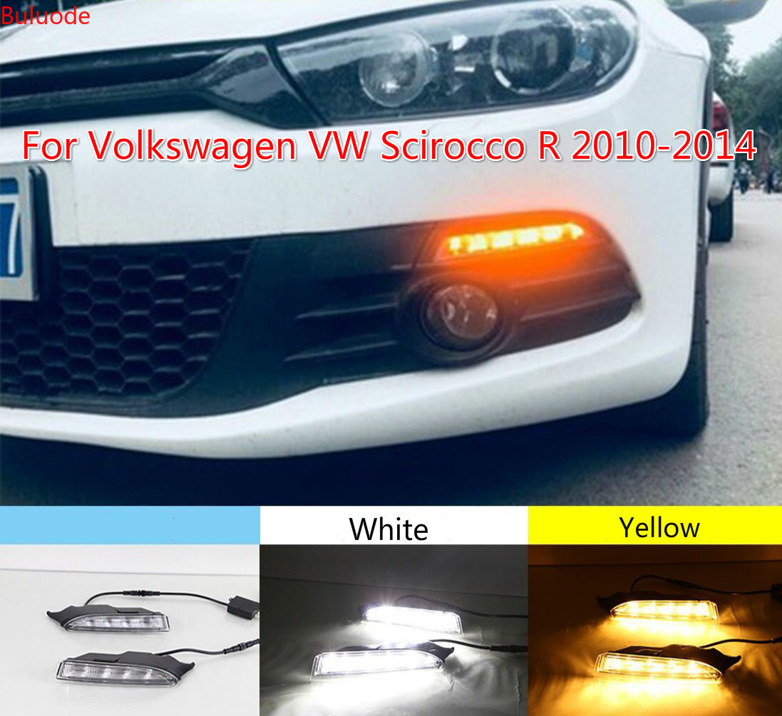2pcs 12V DRL For VolkswagenVW Scirocco R 2010 2011 2012 2013 2014 LED Daytime Running Light White Turn Signal Light Amber