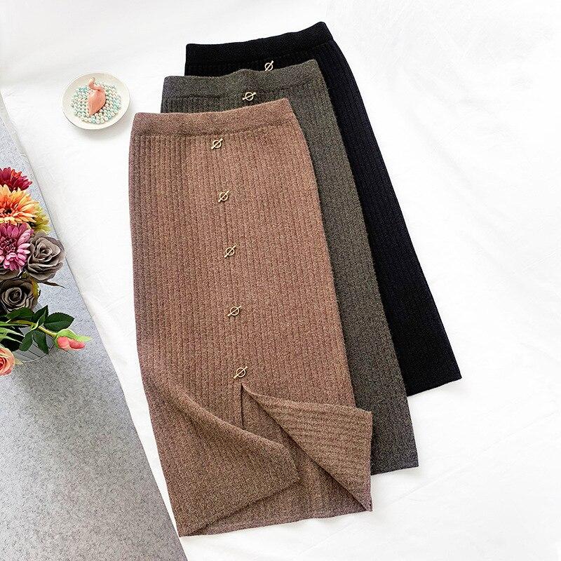 2019 Women High Waist Knitted Bodycon Long Skirt Stretch Vintage Women Winter Wool Skirt Black Faldas Jupe Femme Saia