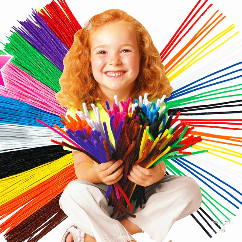 100PCS Kids Creative Colorful Glitter Plush DIY Shingled Chenille Sticks Chenille Stem Pipe Cleaner Stems Craft Educational Toy(China)