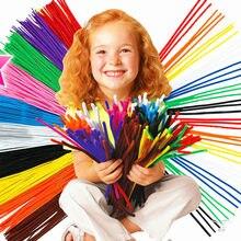 Hastes limpadoras de cachimbo, varas coloridas de pelúcia diy, glitter colorido, varas chenille enroladas, limpador de cachimbos, hastes artesanais, brinquedo educativo, 100 peças