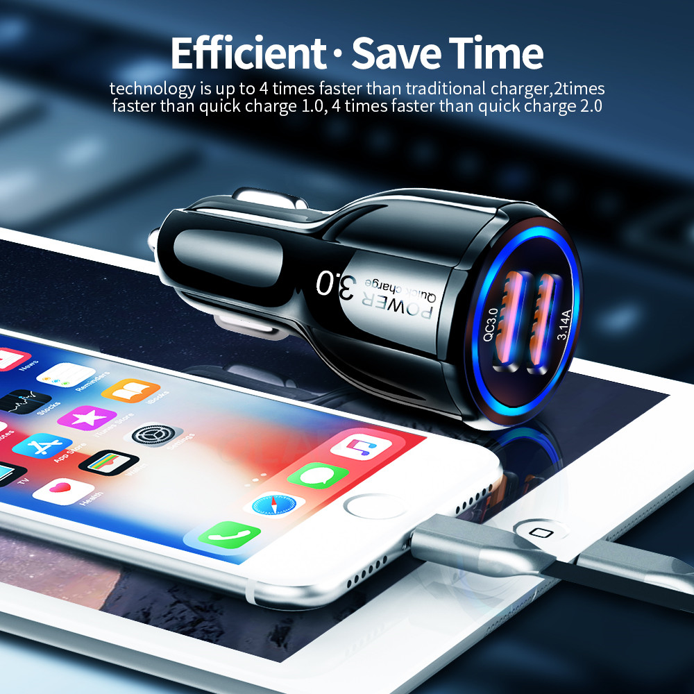 Image 4 - Olaf Car USB Charger Quick Charge 3.0 2.0 Mobile Phone Charger 2 Port USB Fast Car Charger for iPhone Samsung Tablet Car Charger-in Car Chargers from Cellphones & Telecommunications