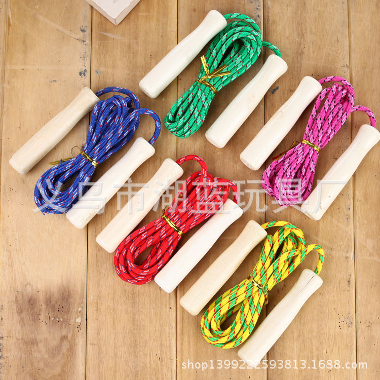 Children Jump Rope Young STUDENT'S Game Only Jump Rope Wooden Cartoon Fitness Jump Rope Color Adjustable