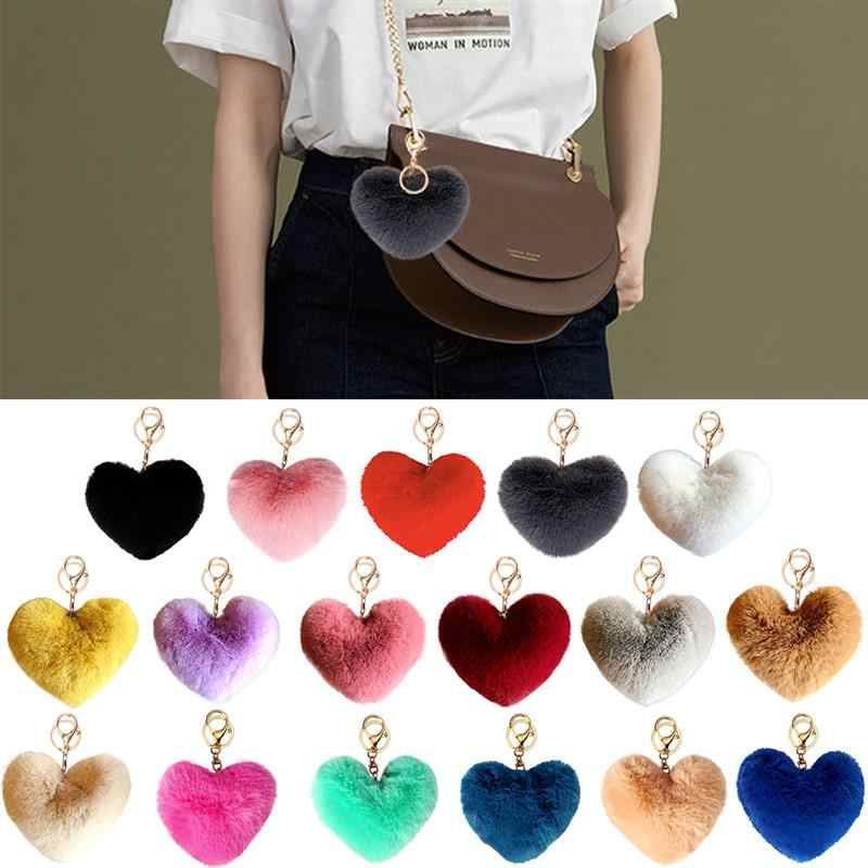 2020 New Lovely Heart Keychains Women's Pom Poms Faux Rex Rabbit Fur Ball Key Chains Girl Bag Hang Car Key Ring Pendant