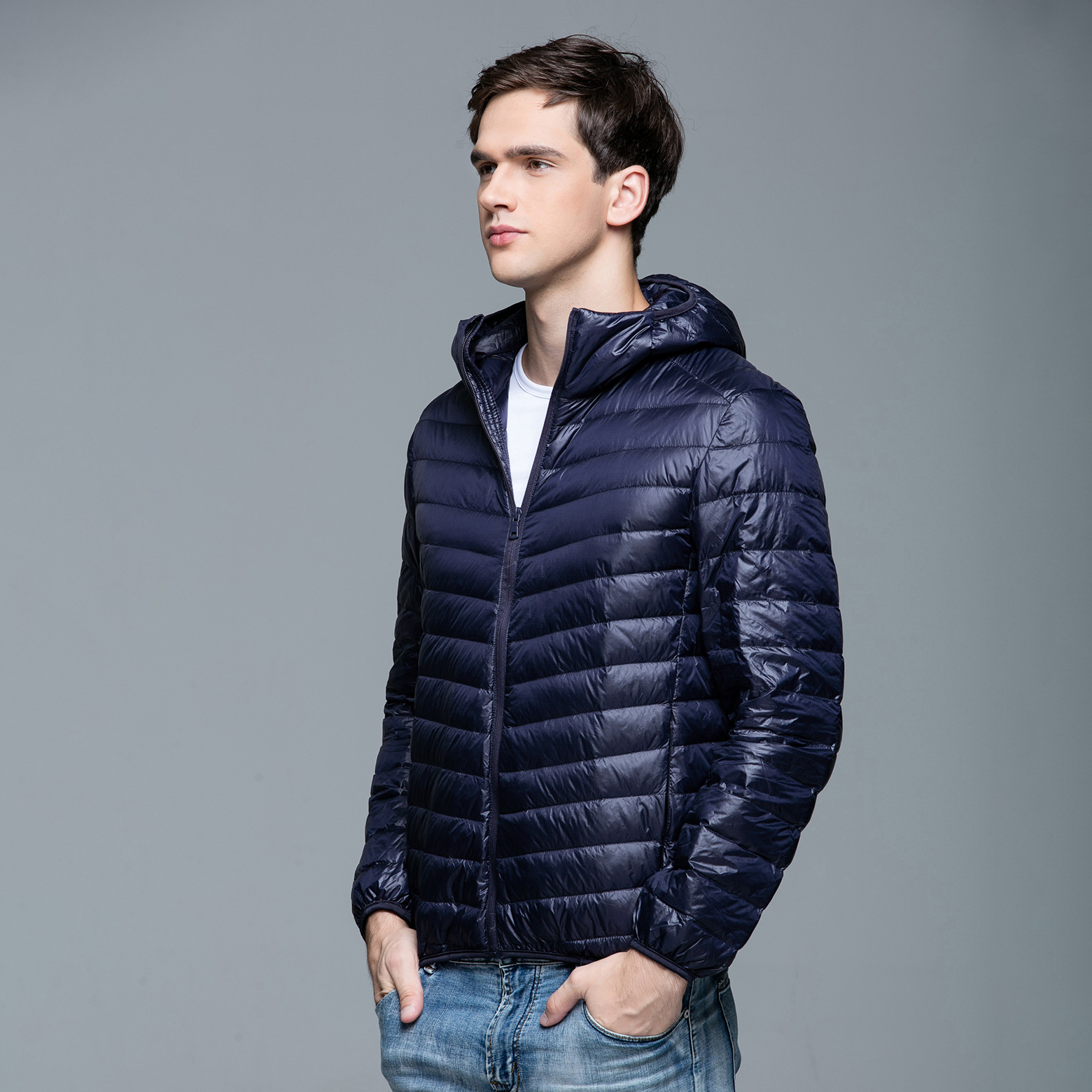 2019 Autumn And Winter New Style Thin Down Jacket Men's Hooded Youth Men Casual Large Size Winter Coat