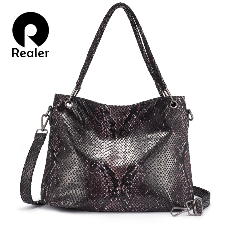 Realer Women Shoulder Bag Large Hobo Totes Luxury Handbags Designer Messenger/crossbody Bags For Ladies Animal Print PU Leather