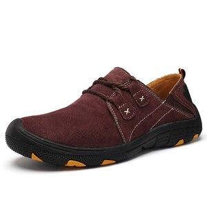 Image 5 - QZHSMY גברים של עור נעליים יומיומיות זכר מגפי לנשימה קשה ללבוש אביב סתיו סניקרס שטוח אור נעלי גדול גודל 38 48