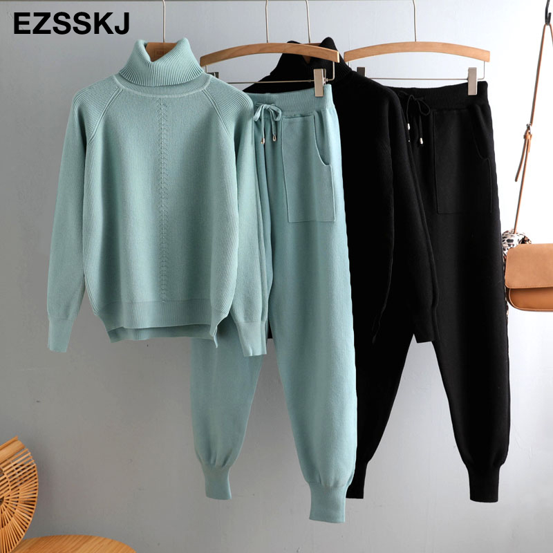 casual 2 Pieces sweater Set Women Knitted Turtleneck Sweater + loose Trousers CHIC Pullover Sweater+ Knitted  Carrot pants  Set