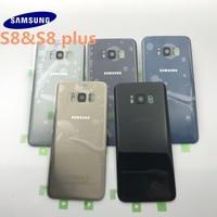 Original novo samsung galaxy s8 g950 s8 plus g955 g955f voltar vidro tampa da bateria porta traseira habitação caso de volta capa de vidro|Estojos de celular| |  -