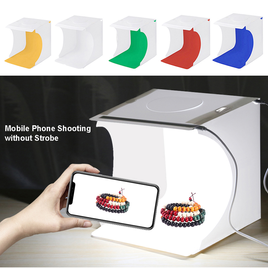 Portable Lightbox Photo Studio Booth LED Light Box Photography Soft  Box 2 Panel LED Light With Color Backdrops On Table Top