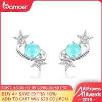 Bamoer Pianeta Blu con star Orecchini con perno per Le Donne Autentici 925 Sterling Argento di Disegno Universo Gioelleria raffinata e alla moda SCE701