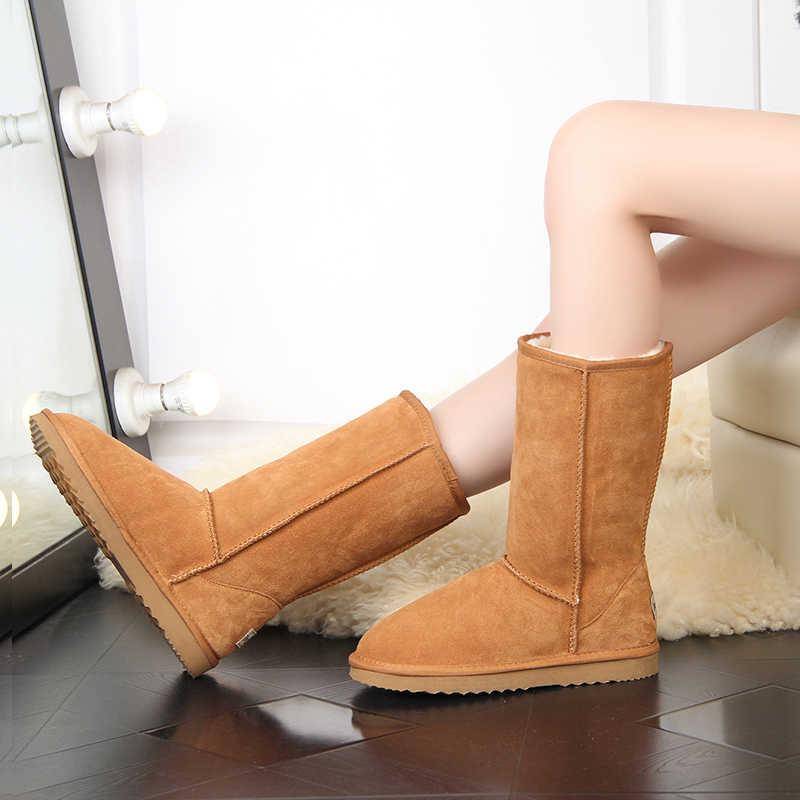 JXANG Thương Hiệu Chất lượng cao Ủng Thời Trang Nữ Da Thật Chính Hãng Da Úc nữ Cổ Cao Boot Mùa Đông Nữ Tuyết Giày