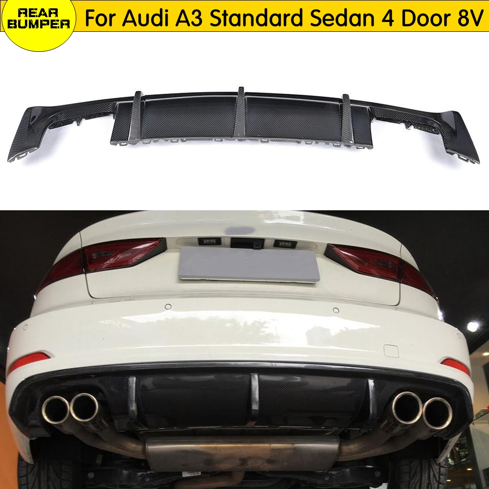 <font><b>A3</b></font> Carbon Fiber <font><b>Rear</b></font> Bumper Lip <font><b>Diffuser</b></font> for <font><b>Audi</b></font> <font><b>A3</b></font> Standard Sedan 4 Door 8V 2014 2015 <font><b>2016</b></font> <font><b>Rear</b></font> Body Kit Bumper <font><b>Diffuser</b></font> image