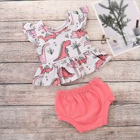 Fashion Girls Clothing Sets Summer Thin Loose Cool Short Sleeve Dinosaur Casual Tops PP Shorts Toddler Kids Outfits Set Red