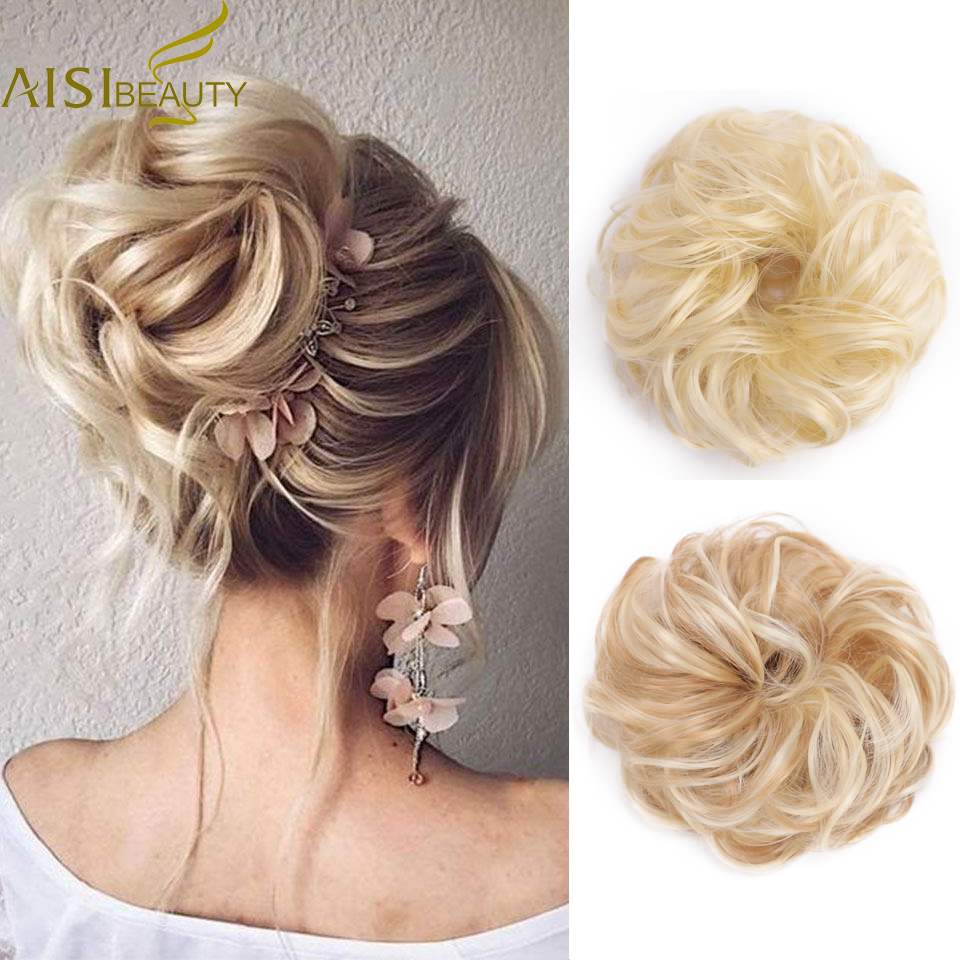 AISI BEAUTY Synthetic Chignons Hair Bun Hairpieces For Women Messy Bun Hair Extension Accessories Rubber Band Blonde Brown Hair