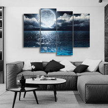 Laeacoo Sea Moon Canvas Painting Calligraphy Posters Prints Home Decorative Wall Art Pictures For Living Room Bedroom No Frame(China)