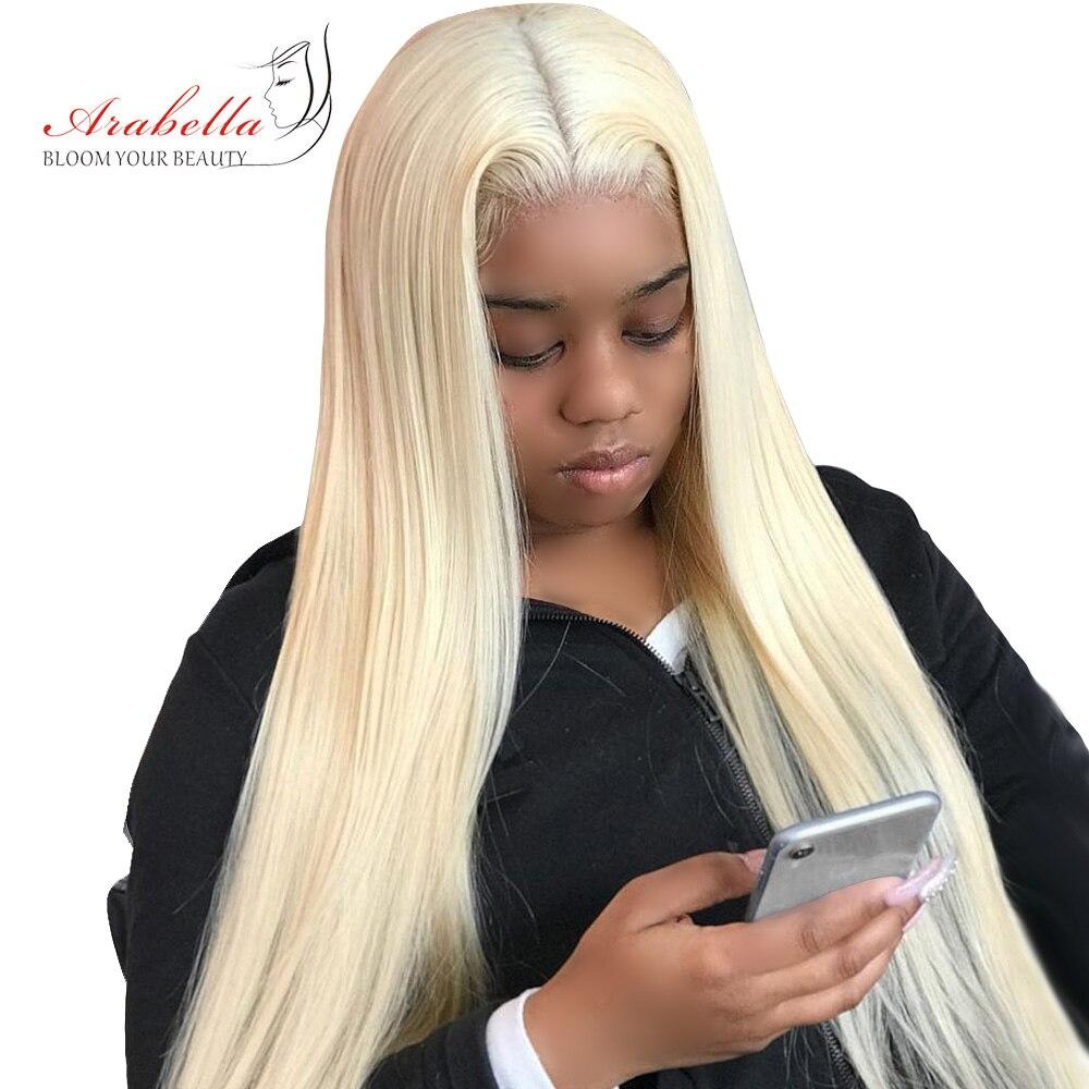 Arabella Wig Blonde Remy-Hair Lace-Front Straight Brazilian 180%Density 13x4 613 Pre-Plukced