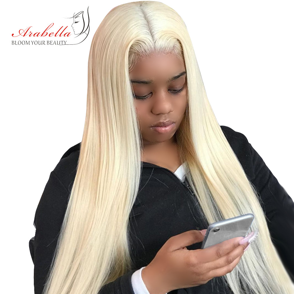 613 Lace Front Wig Brazilian 13x4 Straight Remy Hair Wigs Arabella Pre Plukced Lace Front Wig 180% Density Blonde Lace Front Wig