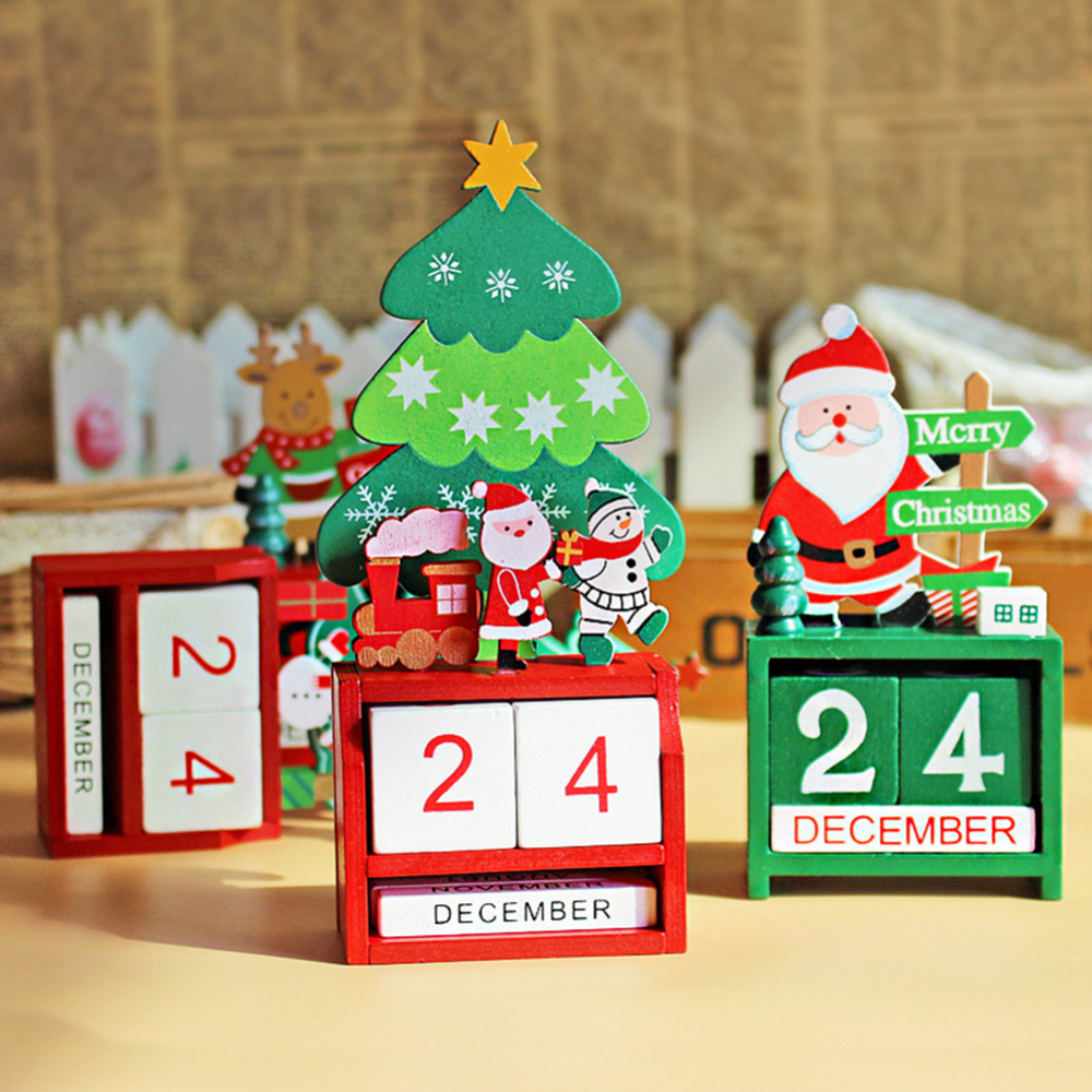 Christmas Holiday Wooden Calendar Advent Countdown With Painted Blocks Home Ornament Decorations