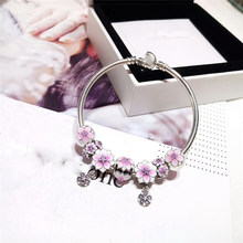 Spirite Store High Quality 1:1 100% 925 Pure Silver Pink Leaf Jewelry Bracelet Gift First Choice Free Of Charge(China)