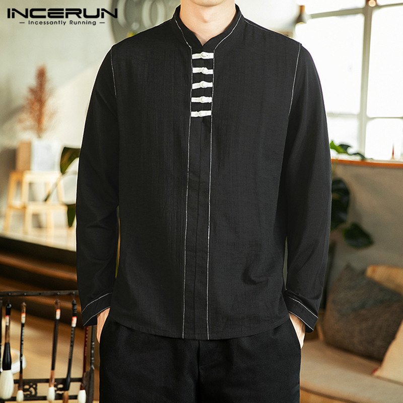INCERUN Vintage Men Long Sleeve Shirt Cotton Brand 2020 Chinese Style Casual Blouse Stand Collar Elegant Solid Color Mens Shirts