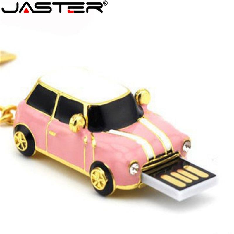 JASTER Pen Drive Mini Cooper Car Styling USB Flash Drive 8GB USB 2.0 Flash Memory Stick Disk 16GB 32GB Pendriver With Keychain