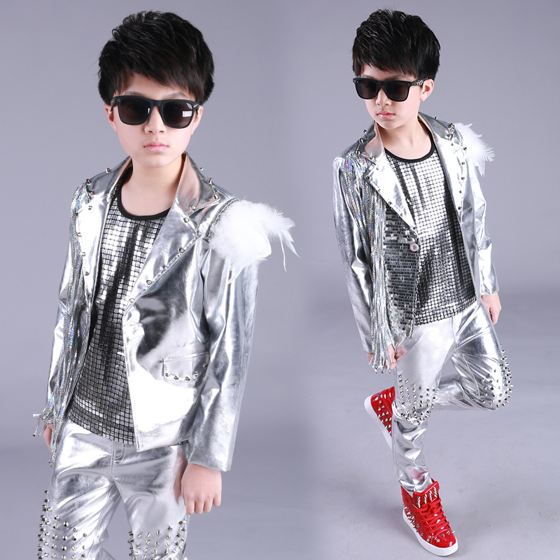 Hip Hop Costume Boys Silver Sequin Fringed Jacket Children Street Dancing Clothing Jazz Stage Wear Birthday Outfits Kids DN4975