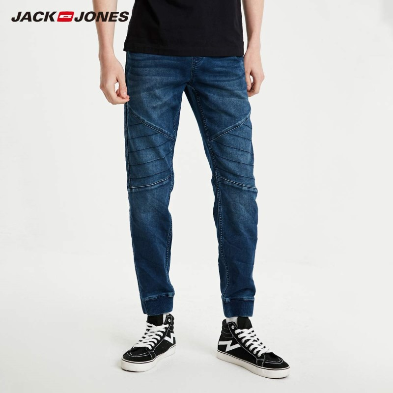 JackJones Men's Slim Fit Spliced Ankle-tied Crop Jeans Style| 219132516