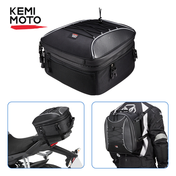 motorcycle tail bags rear back seat bags travel luggage motorcycles helmet bags motorbike scooter rider with shoulder strap KEMIMOTO Motorcycle Tail Bag Motorcycle Rear Seat Backpack Bag Multi-functional Durable High Capacity Rider Waterproof Tail Bags