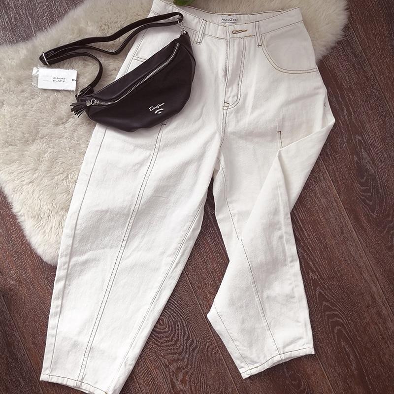Mooirue Autumn Spring Denim Pant Woman Work White High Waist Ankle Jeans Wide Leg 2018 Loose Bottom